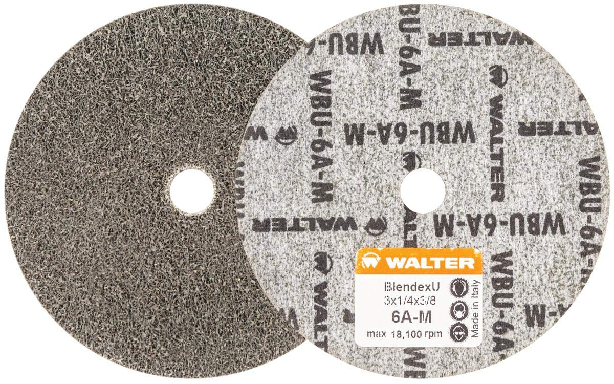 Walter 07U323 Blendex U Wheel (Pack of 20) - ¼ in. Width, 18100 RPM, 6AM Grit Wheel - 3 in. Finishing Wheel for Carbon Steel, Stainless Steel, Aluminum