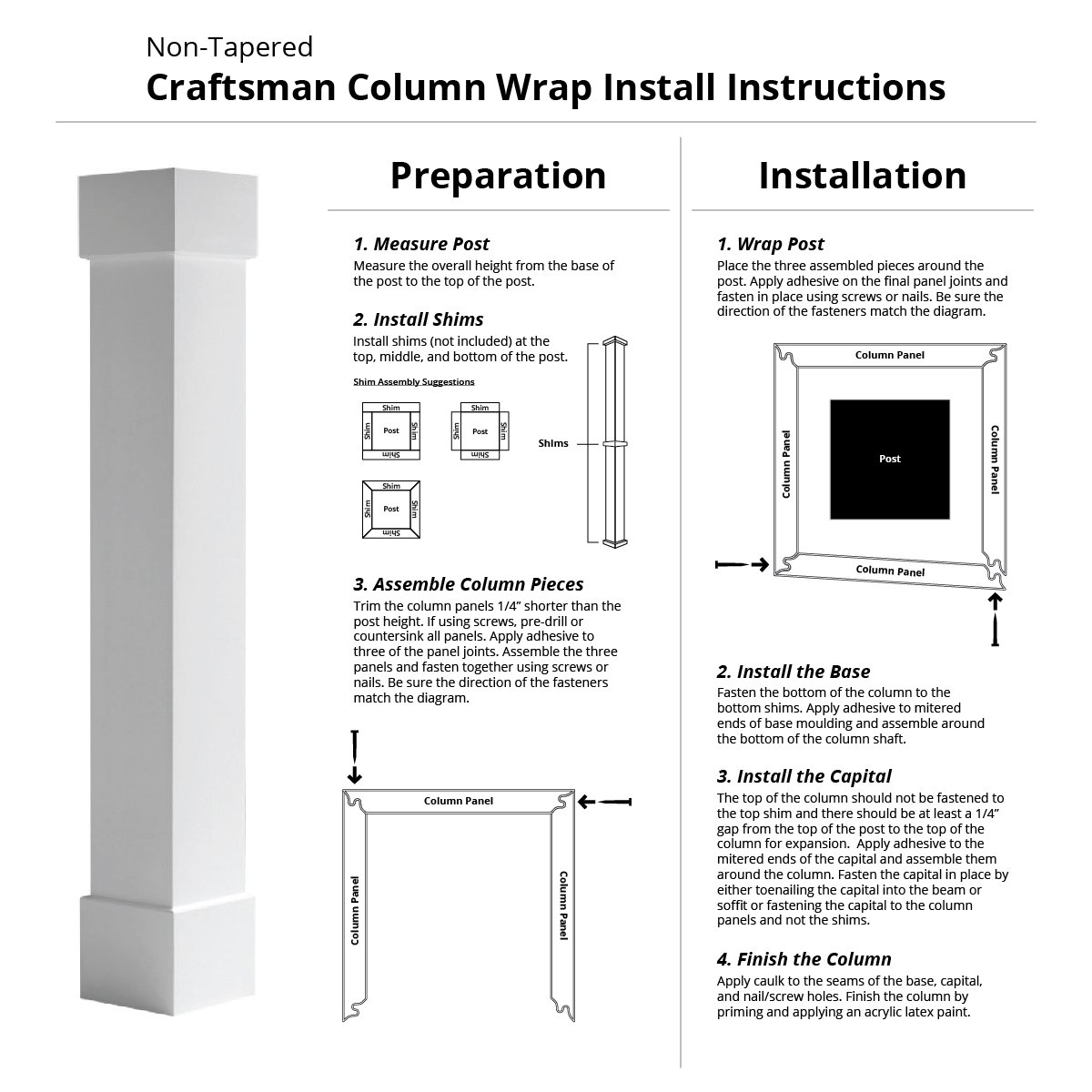Fluted Cellular PVC Endura-Craft Craftsman Column Wrap 6 Square Shaft x 5 Overall Height Non-Tapered Standard Base /& Capital