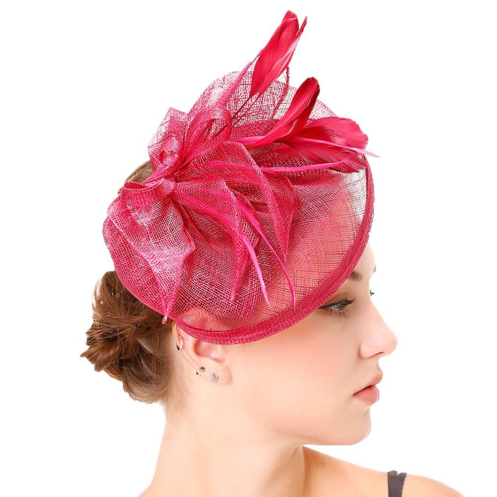 Yujeet Mujeres Transparente Elegante Flor Forma Sombreros Y Tocados Llanura Tejer Pluma Novia Headwear Para La Boda