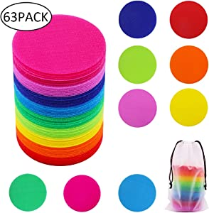 """Carpet Spot Sit Markers, Gentle Monster 4"""" Classroom Sitting Spots, Rug Circles for Teachers, Preschool Kindergarten Kids and Gym, Carpet Squares Dots, Hooks and Loops 63 Pack, 9 Colors"""