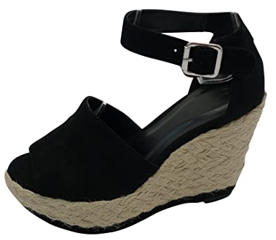5e27bcdb76166 Cambridge Select Women s Peep Toe Buckled Ankle Strap Braided Rope  Espadrille Platform Wedge Sandal