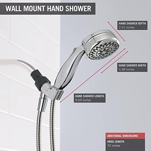 Delta 7 Spray Touch Clean Hand Held Shower Head With Hose, Chrome (75700)    Hand Held Showerheads   Amazon.com