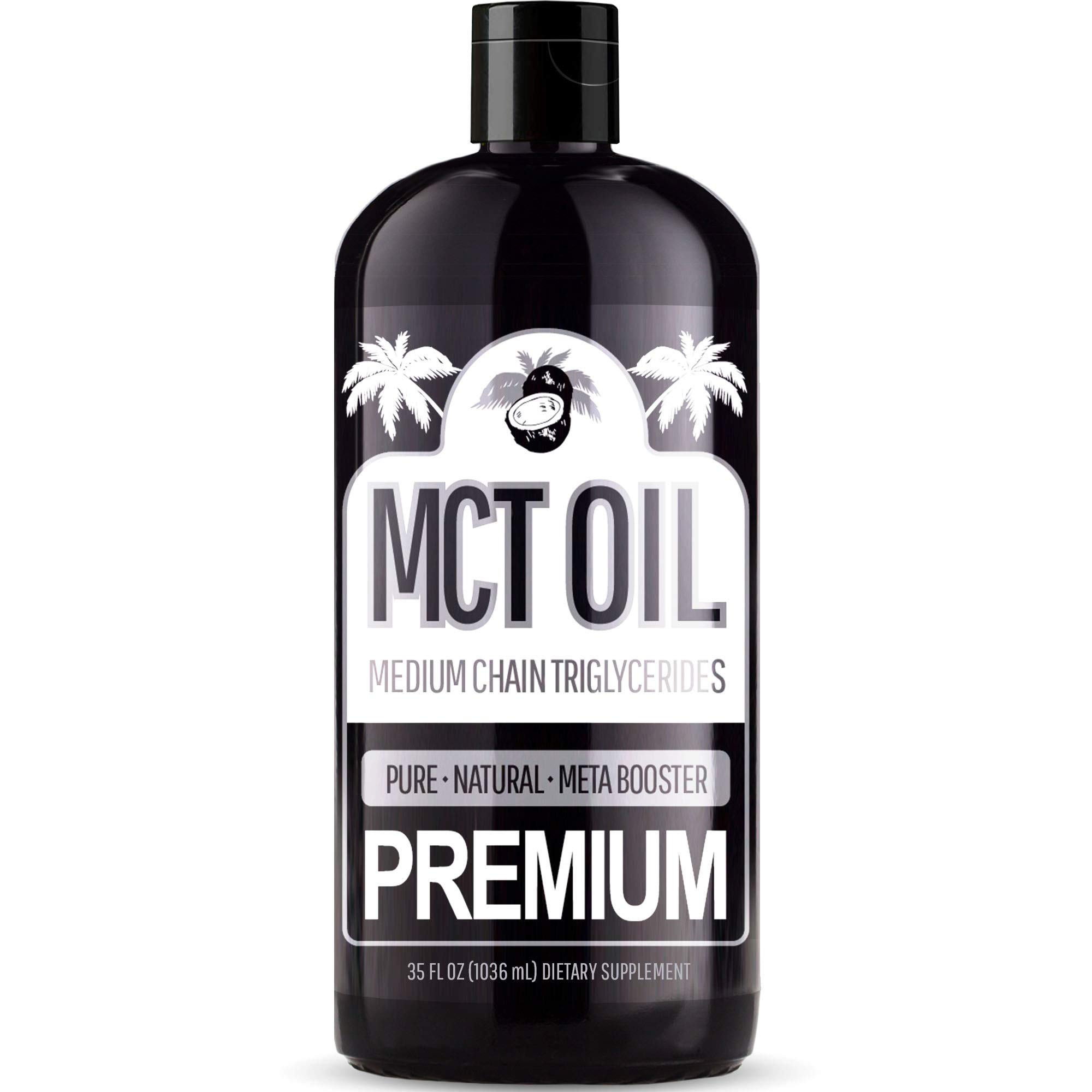 Premium MCT Oil - with C8 and C10 Brain Fuel - Derived Only From Coconuts - Keto & Paleo Diet Weight Loss Approved - Perfect Adding to Coffee, Salad Dressing, Tea, Shakes, Drink, and More! 35oz Bottle by Sun Essential Oils