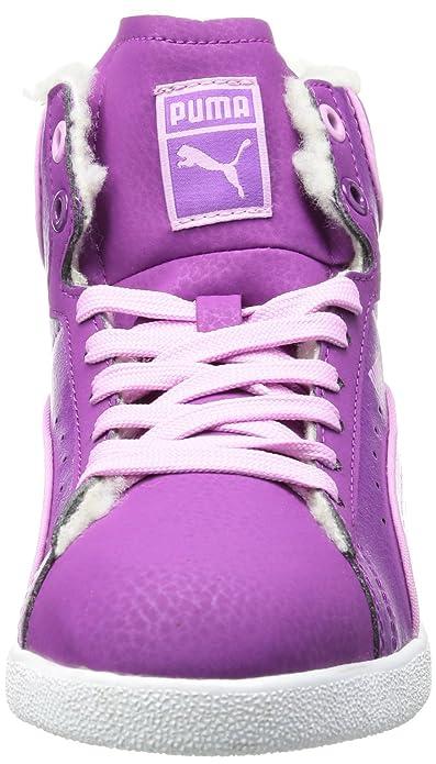 Puma First Round Fur Jr - Zapatilla alta de cuero infantil, color rosa (sparkling grape-orchid purple 01), talla 38