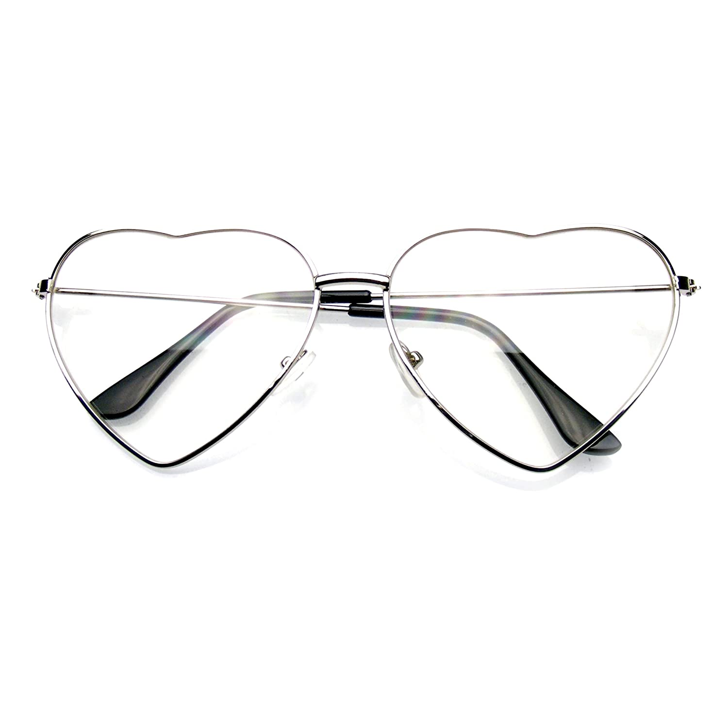 a73110e9624 Amazon.com  Metal Frame Heart Shape Sunglasses Cute Lovely Women s Clear  Glasses (Clear Nerd Gold)  Clothing