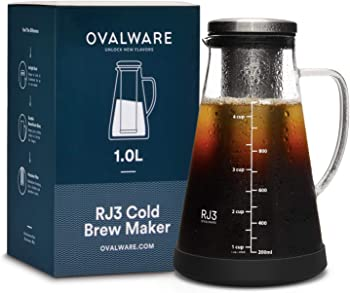 Ovalware Airtight Cold Brew Iced Coffee Maker and Tea Infuser