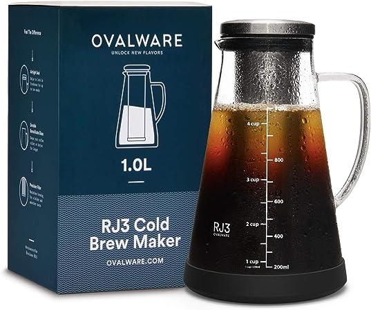 Cafetera hermética para café en frio e Infusor para té con pico – Jarra de vidrio Ovalware RJ3 para…