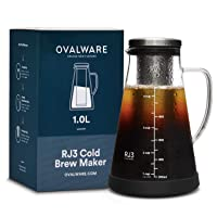 Airtight Cold Brew Iced Coffee Maker and Tea Infuser with Spout - 1.0L / 34oz Ovalware...