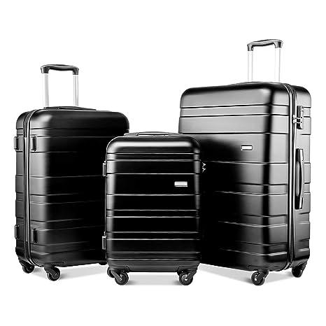 BTM Set of 3 Light Weight Hardshell 4 wheel Travel Trolley Suitcase Luggage  Set Holdall Case-20 24 28 inch (Black)  Amazon.co.uk  Luggage c7cd3b6502661