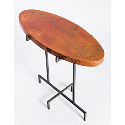 Amazoncom Oval Occasional Accent Table With Hammered Copper Top - Copper top accent table