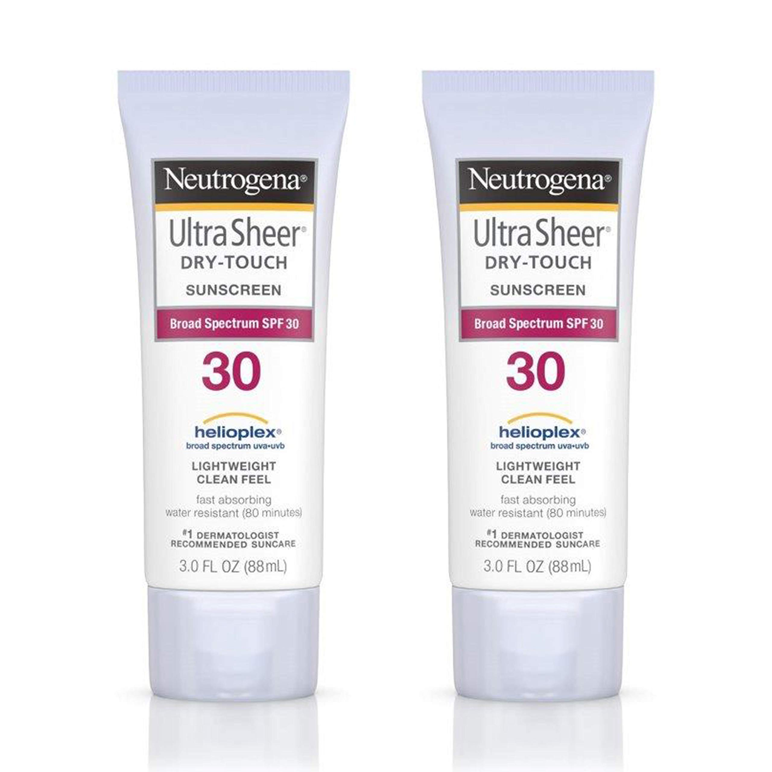 Neutrogena Ultra Sheer Dry-Touch Water Resistant and Non-Greasy Sunscreen Lotion with Broad Spectrum SPF 30, 3 fl. oz, Pack of 2 by Neutrogena