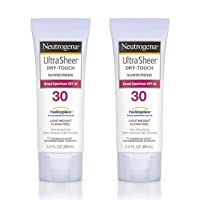 Neutrogena Ultra Sheer Dry-Touch Sunscreen Lotion, Broad Spectrum SPF 30 UVA/UVB Protection, Oxybenzone-Free, Light, Water Resistant, Non-Comedogenic ; Non-Greasy, Travel Size, 3 fl. oz (Pack of 2)