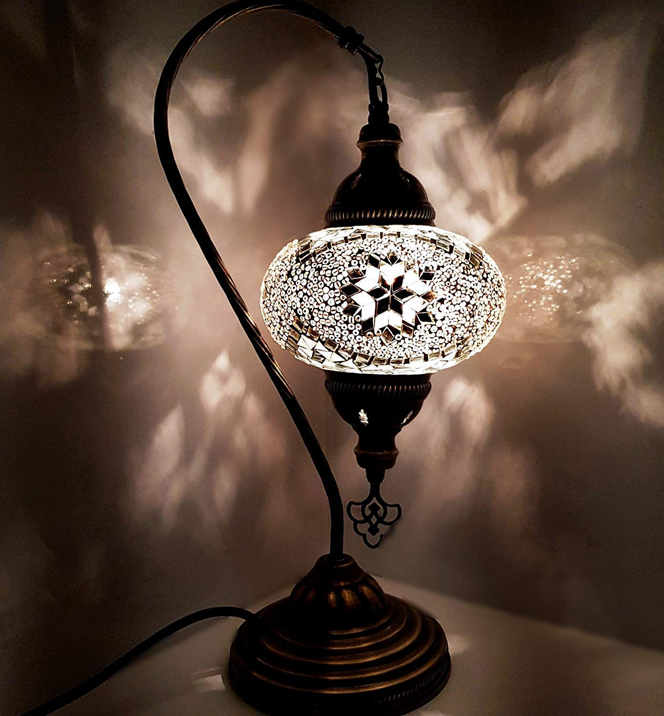 Handmade Large Turkish/Moroccan / Tiffany/Bohemian Style Glass Mosaic Desk Table Lamp Light 43 centimetres Tall