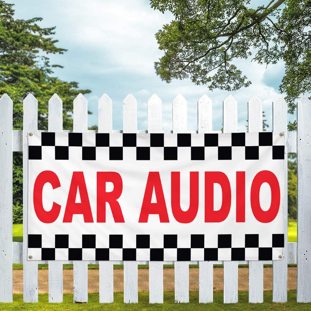 Vinyl Banner Multiple Sizes Car Audio Red Auto Repair Shop Automotive Outdoor Weatherproof Industrial Yard Signs 10 Grommets 60x144Inches
