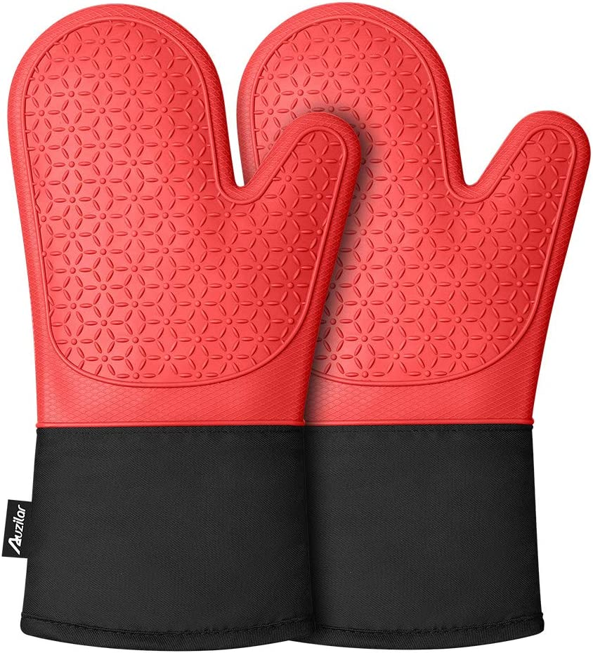 Auzilar Silicone Oven Mitts, Non-Slip Oven Hot Mitts, Long Kitchen Mitts, Professional Heat Resistant Kitchen Pot Holders, Oven Gloves with Quilted Cotton Lining - 1 Pair (Red)