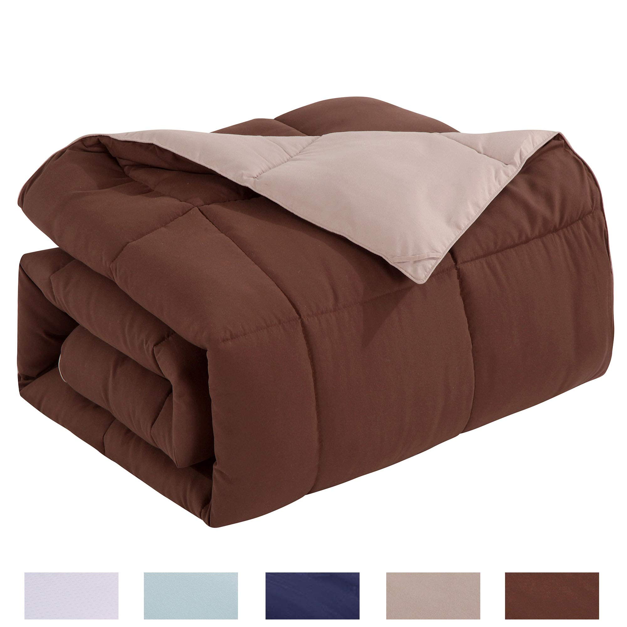 Homelike Moment Lightweight Reversible Comforter Down Alternative Queen All Season Duvet Insert Microfiber Comforter Chocolate Brown/Khaki Full/Queen Size With Corner Tabs Hypoallergenic