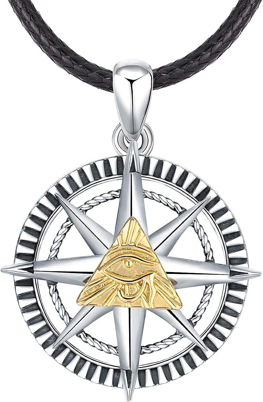Odinstone S925 Collar de Plata esterlina para Hombres, Colgante del Ojo de Horus Protección para Hombre/Lucky/Joyas de Amuleto, Regalos para Novio/Padre/Hermano
