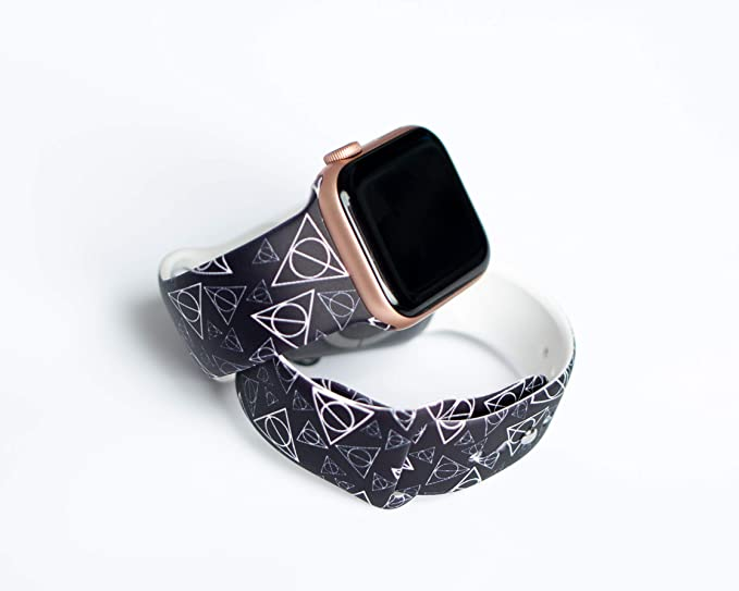 Harry Potter Deathly Hallows Watch Band Compatible with  38mm/42mm/40mm/44mm, Silicone Fadeless Pattern Printed Replacement Band for  iWatch Series