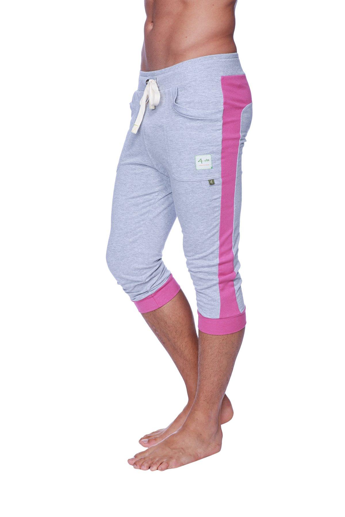 4-rth Cuffed Yoga Pant (M, Heather Grey w/Berry) by 4-rth