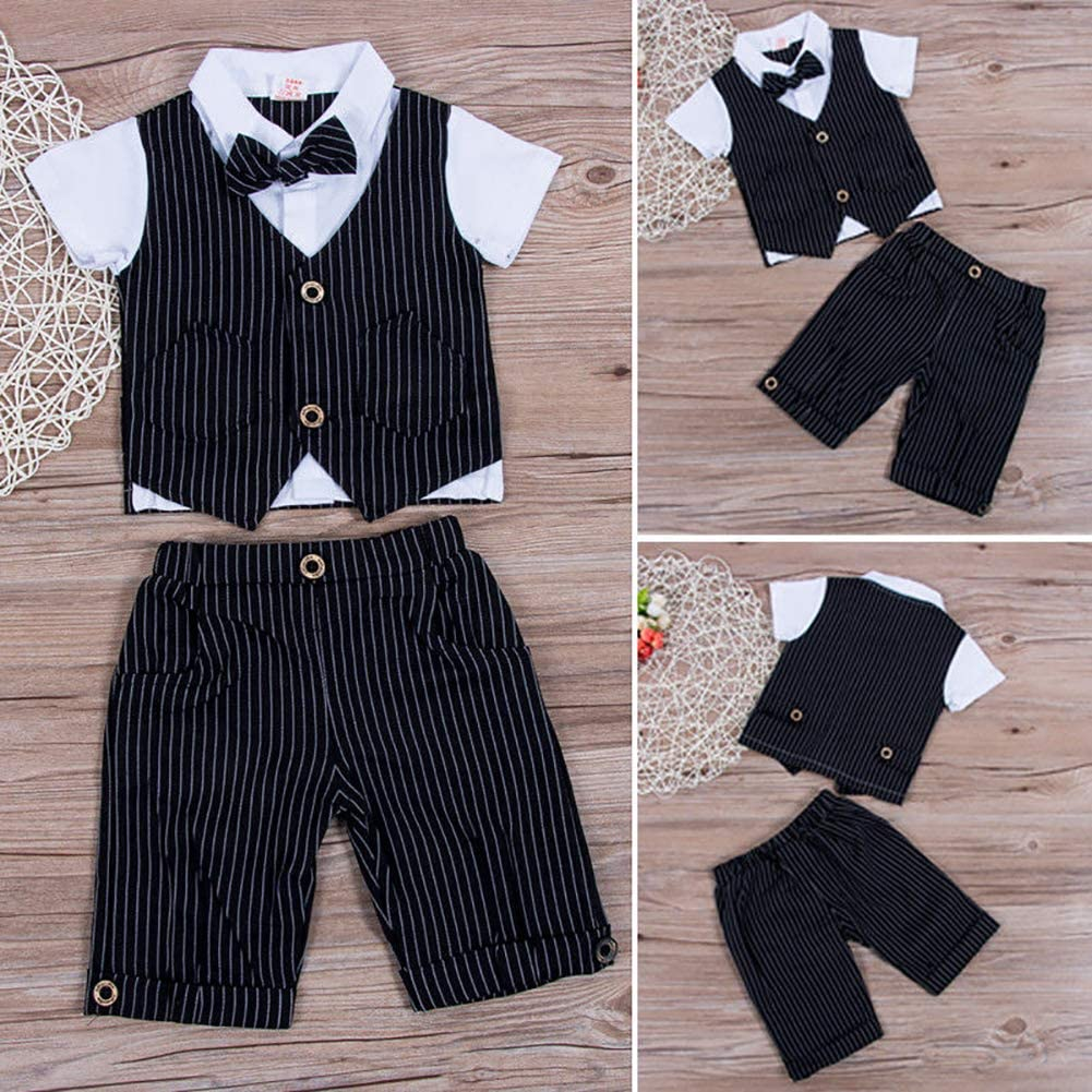 Carolilly Baby Boys Blazer Gentlemen Wedding Christening Outfit 3Pc Suit Tuxedo Waistcoat(1-7Y