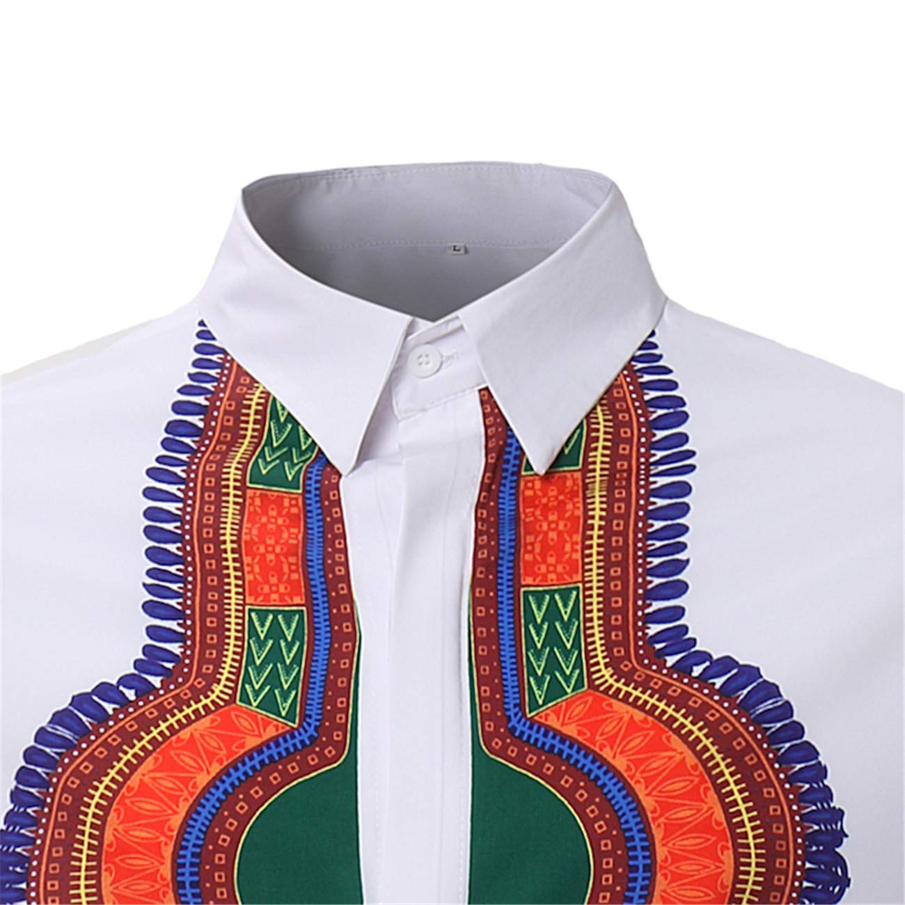 Mens Long-Sleeved Ethnic African Style Floral Printed Leisure and Fashion Shirt
