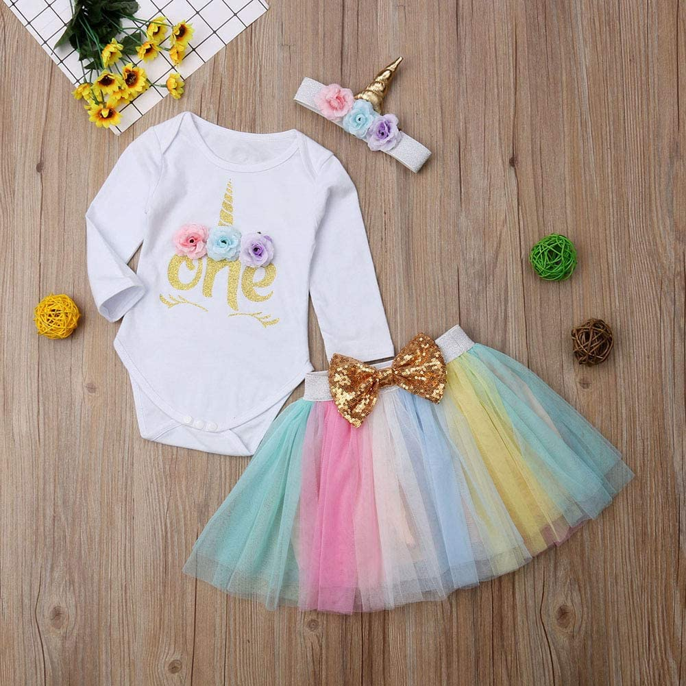 Newborn Baby Girl Unicorn Costume Long Sleeve Bodysuit Romper+Rainbow Tutu Skirt Dress+Headband Outfit Clothes
