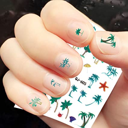 Amazon Oulii 6 Sheets Hawaii Style Coconut Palm 3d Design Nail