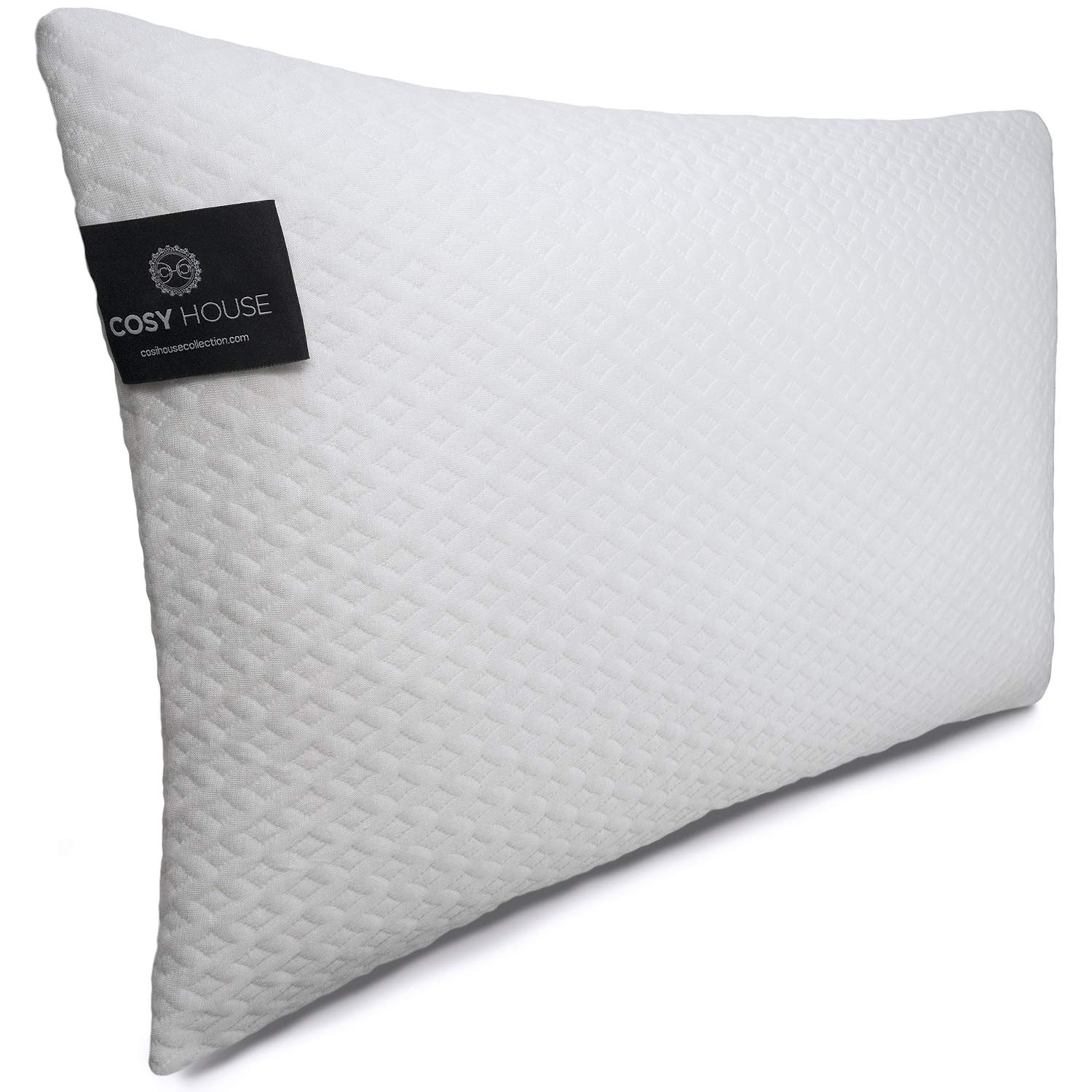 Cosy House Collection Luxury Bamboo Shredded Memory Foam Pillow - Adjustable Fit - Removable Fill - Ultra Soft, Cool & Breathable Hypoallergenic Cover with Zipper Closure (Queen)
