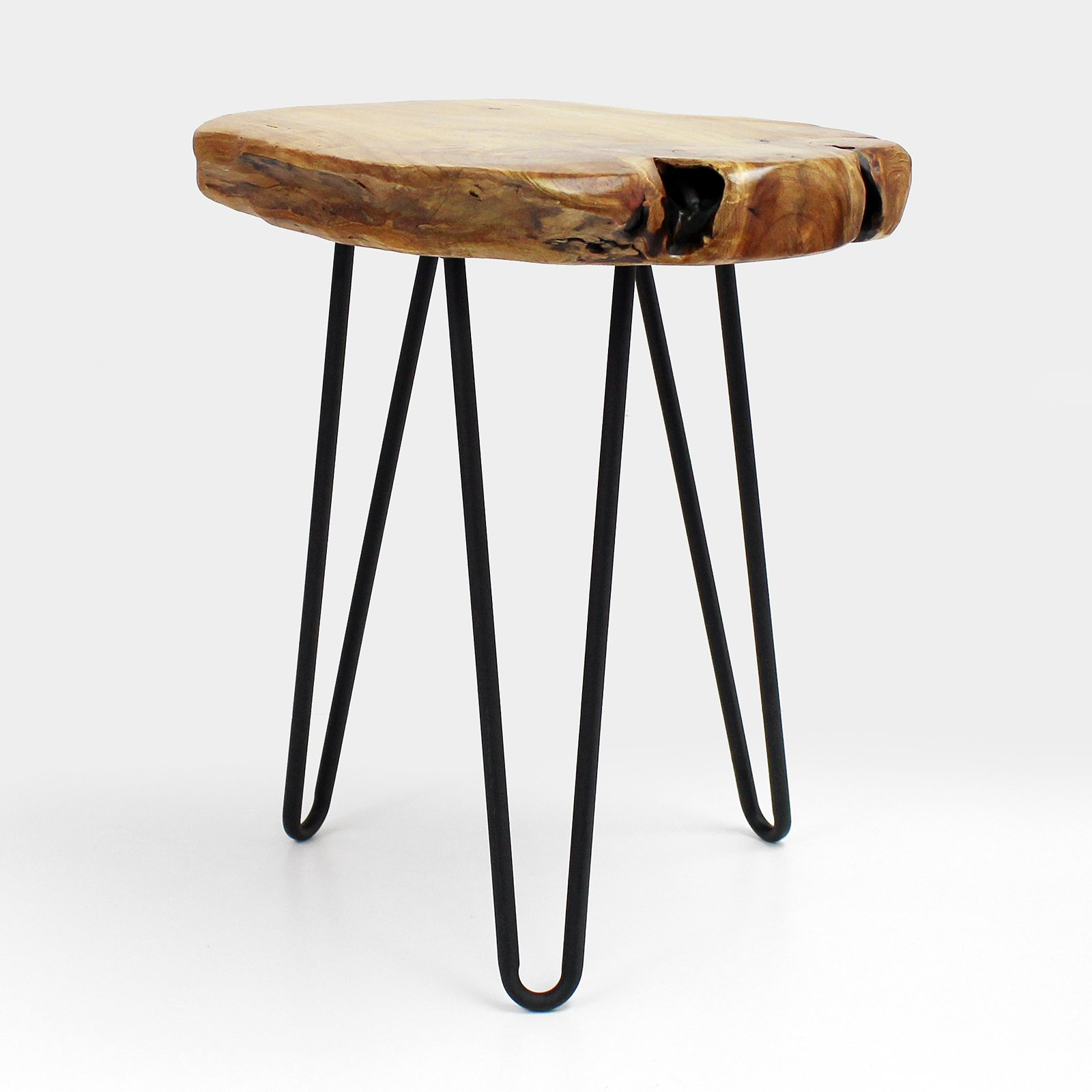 WELLAND Live Edge Side Table with Hairpin Legs, Natural Edge Side Table, Small Nightstand Wood, 15.5'' Tall by WELLAND (Image #2)