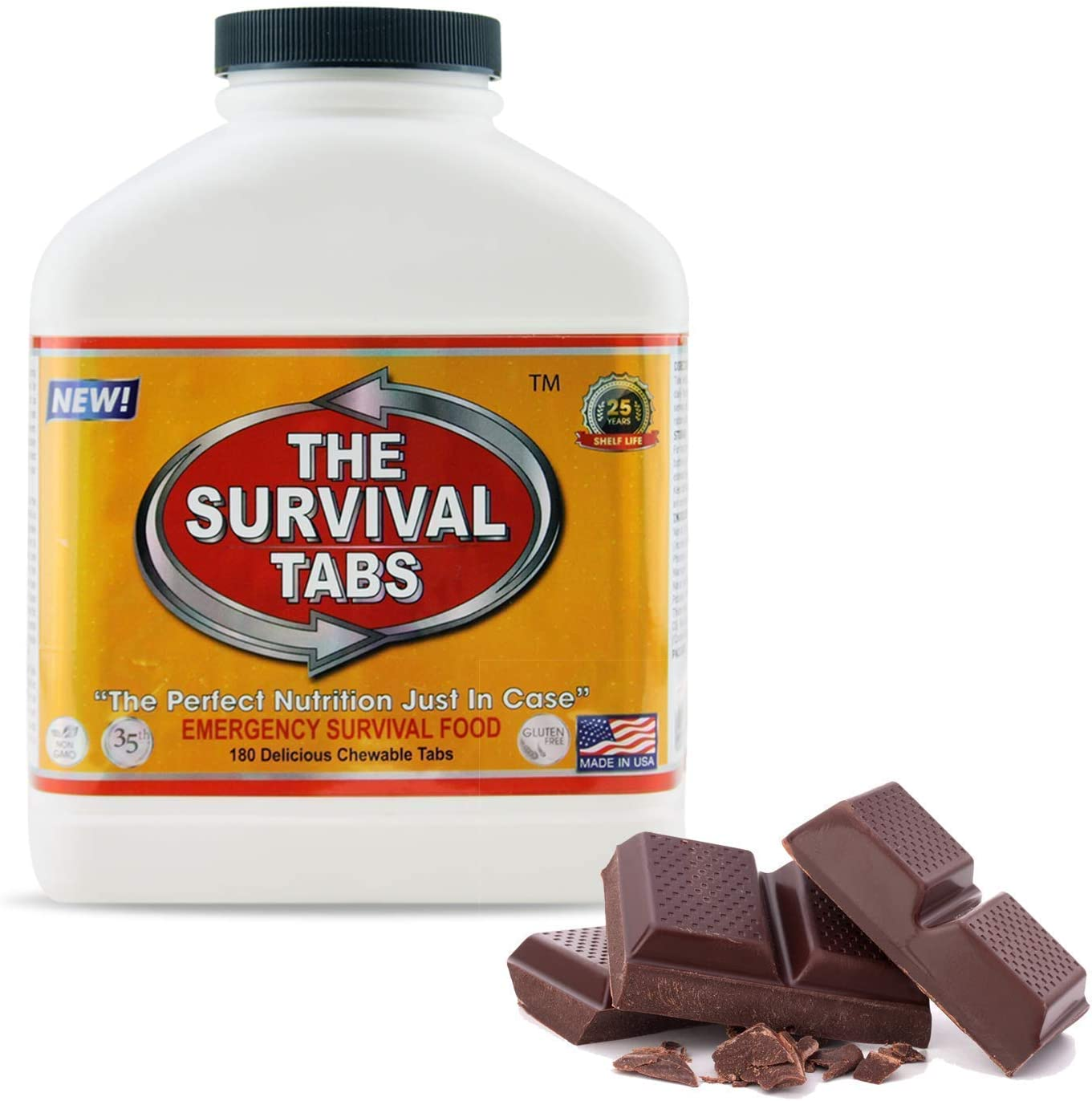 Emergency Survival Food Tablets 1 bottle 180 count Chocolate Flavored