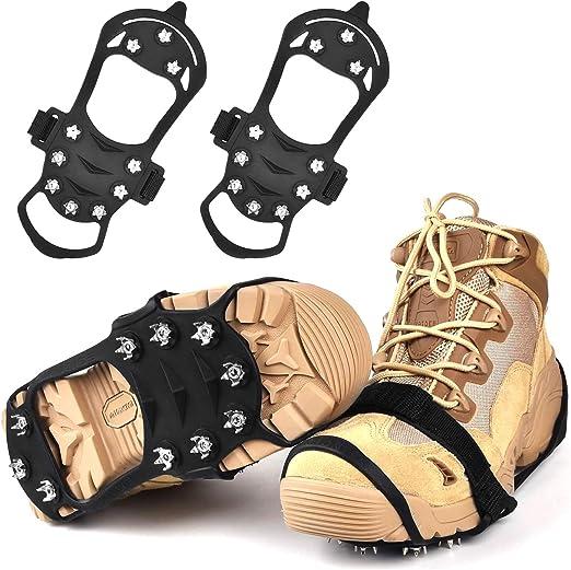 Crampones para botas de montaña, garra para zapatos, antideslizantes, clavos de acero inoxidable y clavos antideslizantes, para botas de ...