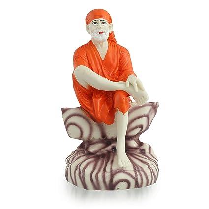 Divine Gifts Sai Baba Idols for Car Dashboard | Saibaba Statue Orange for  Home Décor