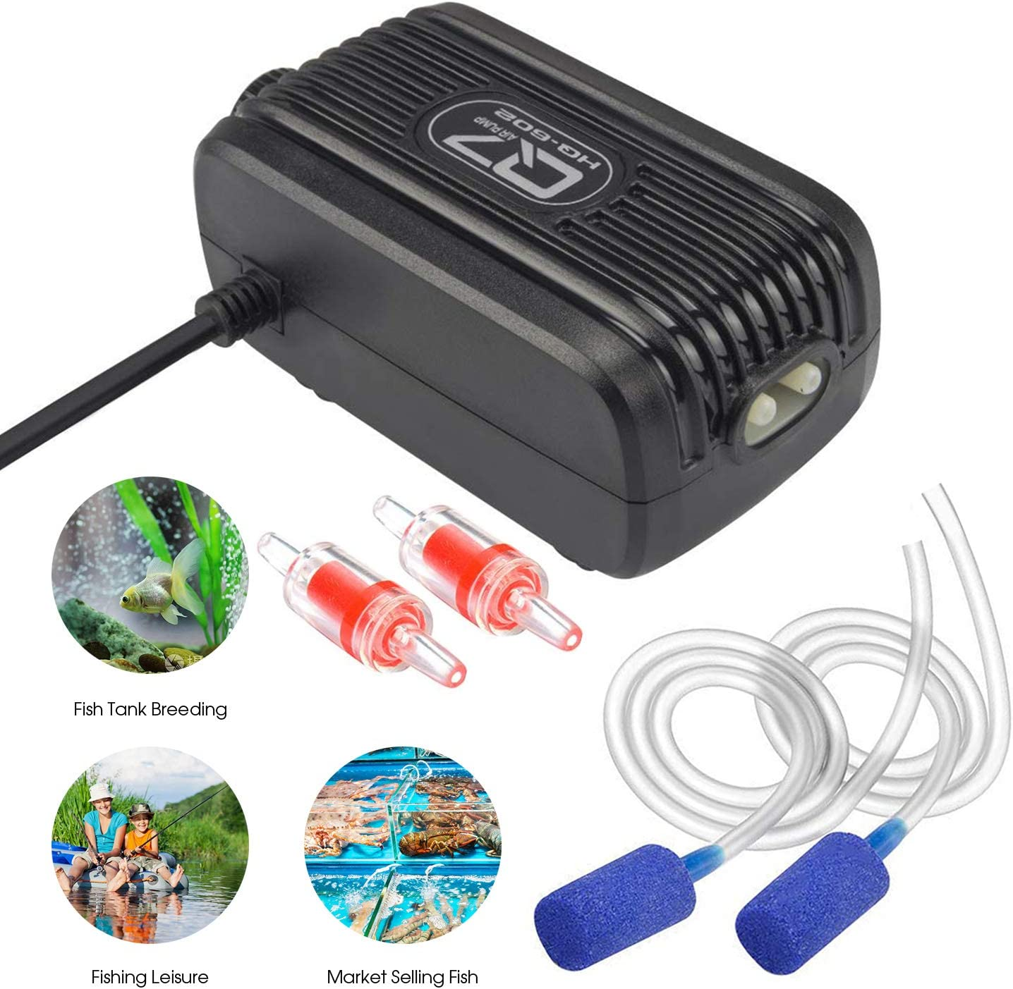 Rifny Aquarium Air Pump, Adjustable Air Pump Kit with Dual Outlet Air Valve, Fish Tank Oxygen Pump with Air Stones Silicone Tube Check Valves for 1-80 Gallon
