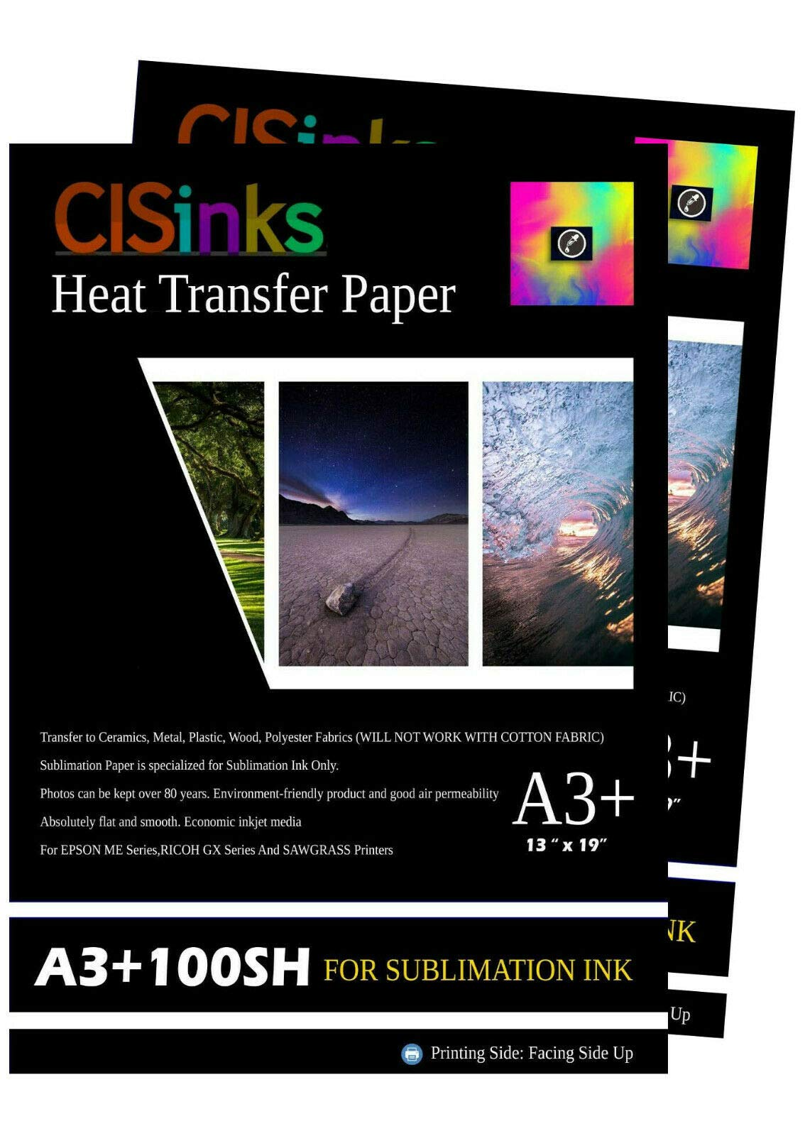 CISinks 200 Sheets +A3 13'' x 19'' Inch 100gsm Thick Sublimation Inkjet Heat Transfer Paper