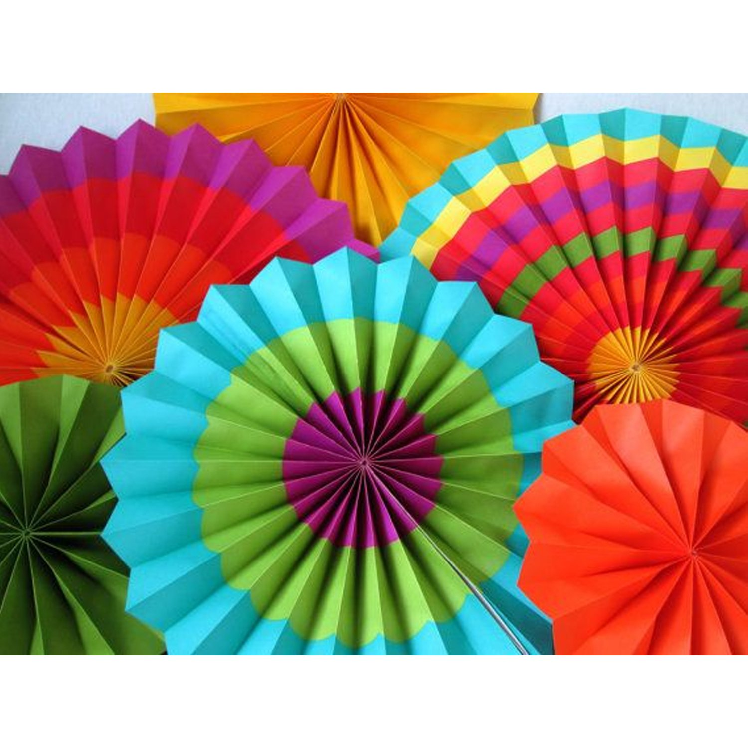 Adorox Set of 12 Vibrant Bright Colors Hanging Paper Fans Rosettes Party Decoration for Holidays 8'' 12'' 16'' Various Sizes Fiesta (2 pack) …