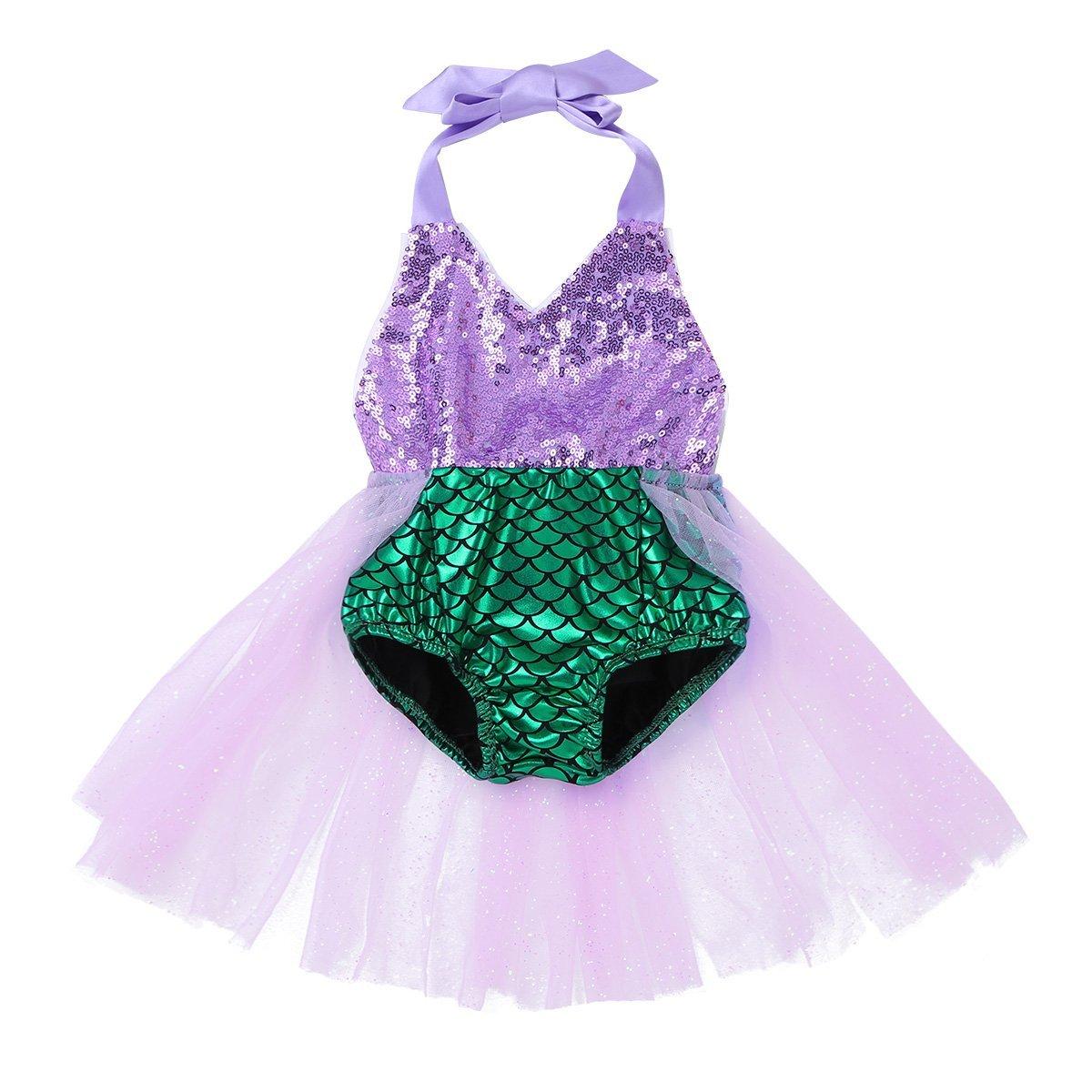 FEESHOW Toddler Baby Girls Mermaid Princess Bikini Swimsuit Halter Romper Tutu Fancy Dress Costumes Green 9-12 Months