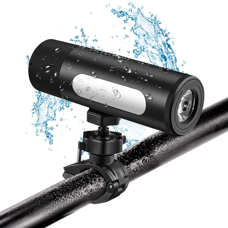 luce per bici e bassi potenti altoparlanti Bluetooth impermeabili AURTEC con banco di alimentazione 5200mAh nero Altoparlante esterno per bici wireless con supporto per bicicletta antiurto