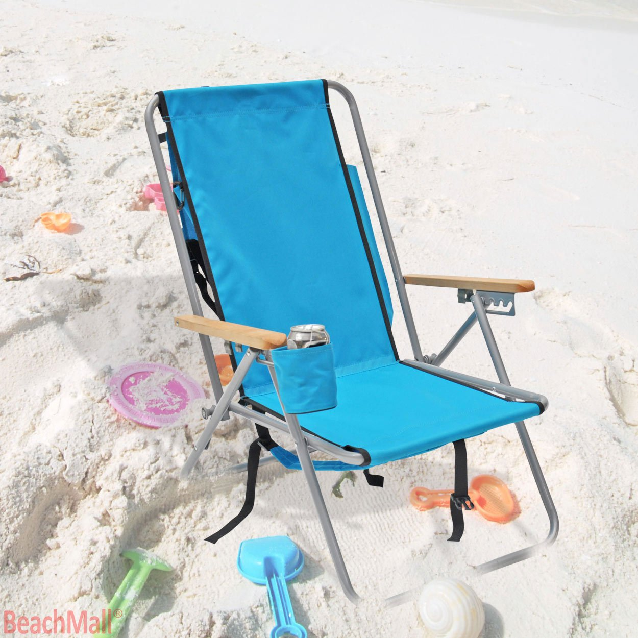 Amazon.com : High Back Steel Backpack Beach Chair By WearEver (Aruba Blue)  : Sports U0026 Outdoors