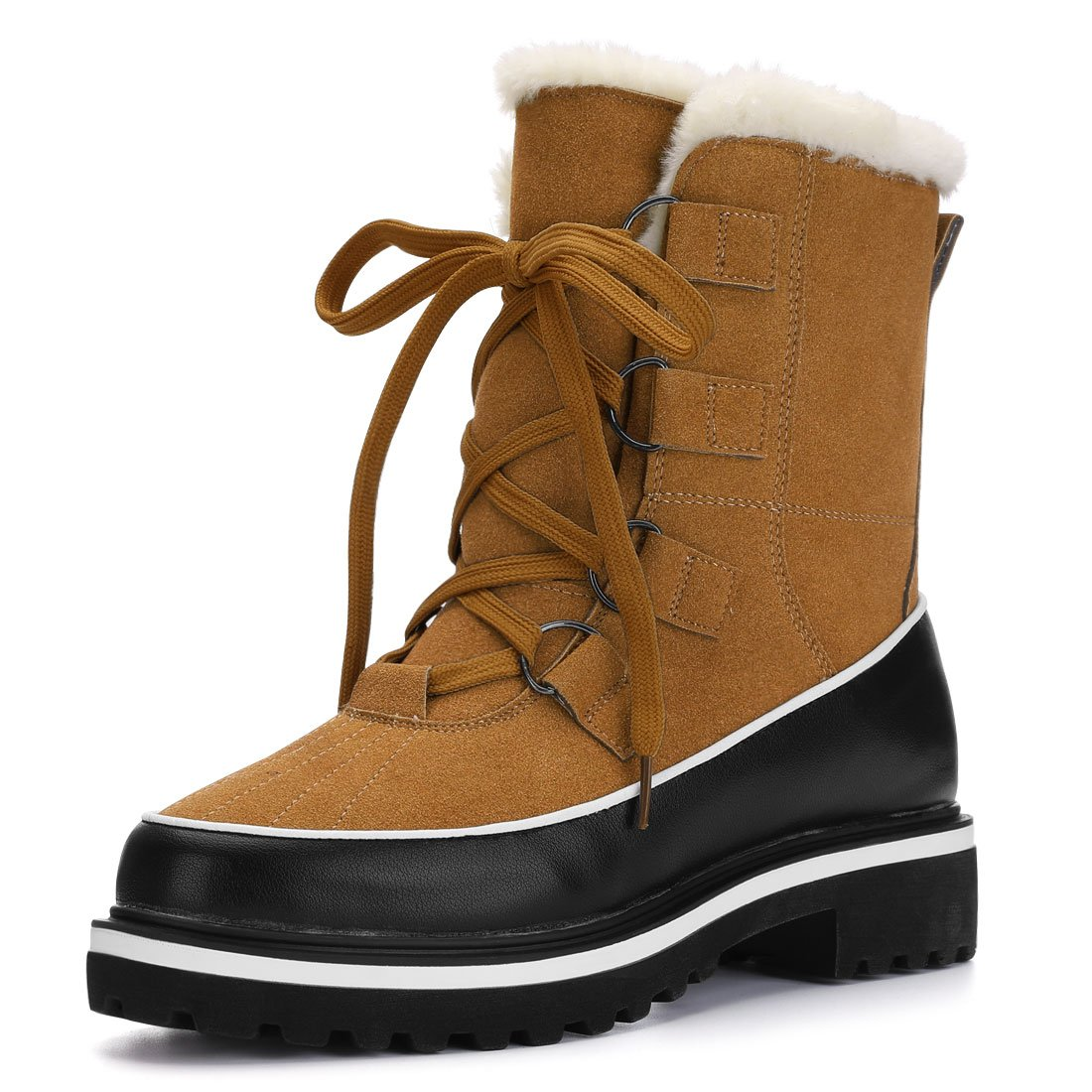 new product run shoes size 40 Allegra K Women's Christmas Fleece Lining Lace up Duck Winter Snow Boots