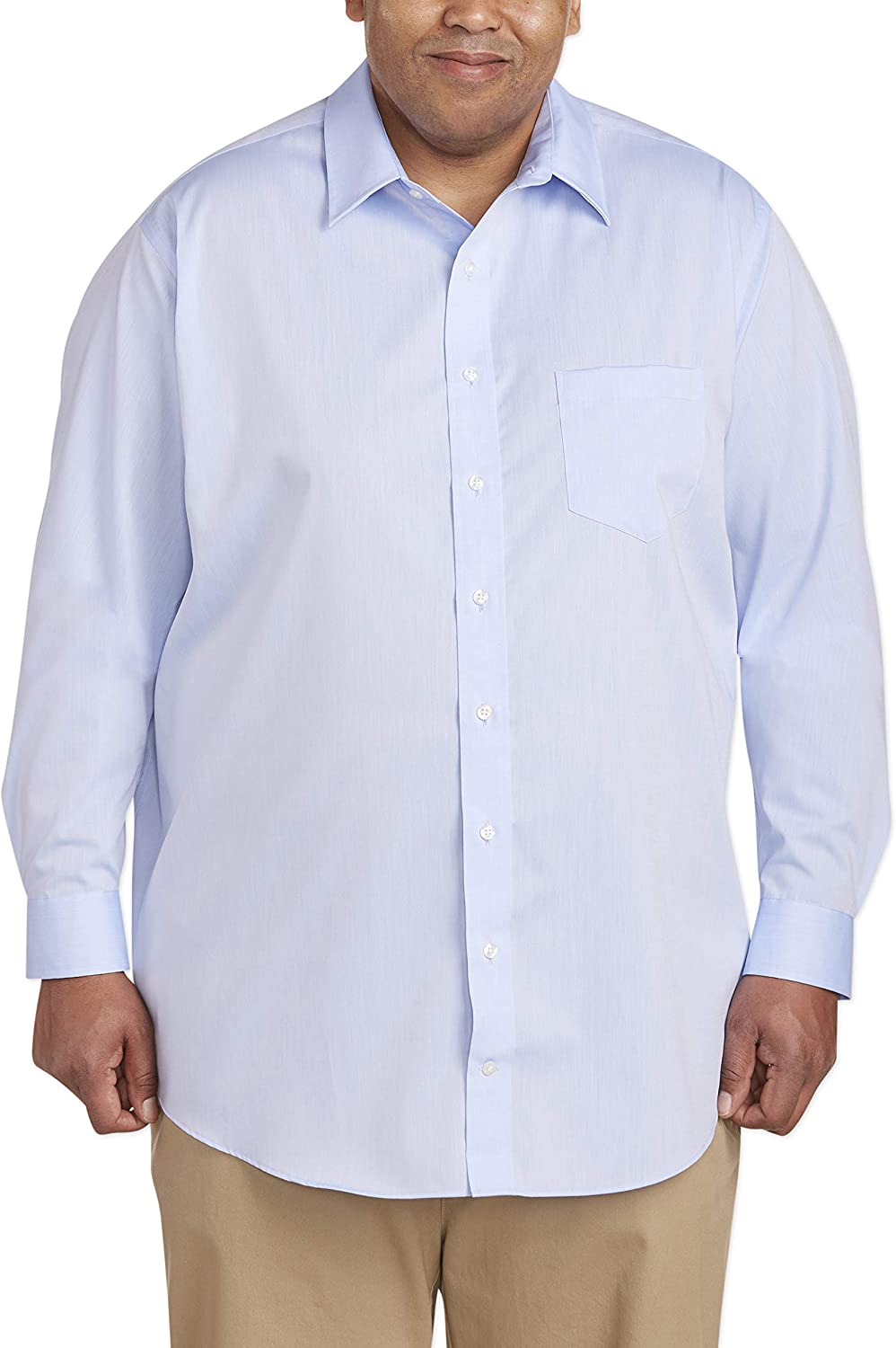 Essentials Men's Big & Tall Wrinkle-Resistant Long-Sleeve Solid Dress Shirt fit by DXL: Clothing