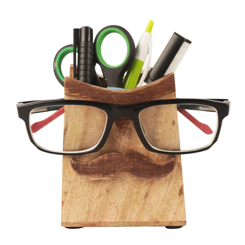 storeindya handcarved Porte-Lunettes en Bois avec Socle de Papeterie Design Moustache-Cadeaux de Noë l excentriques