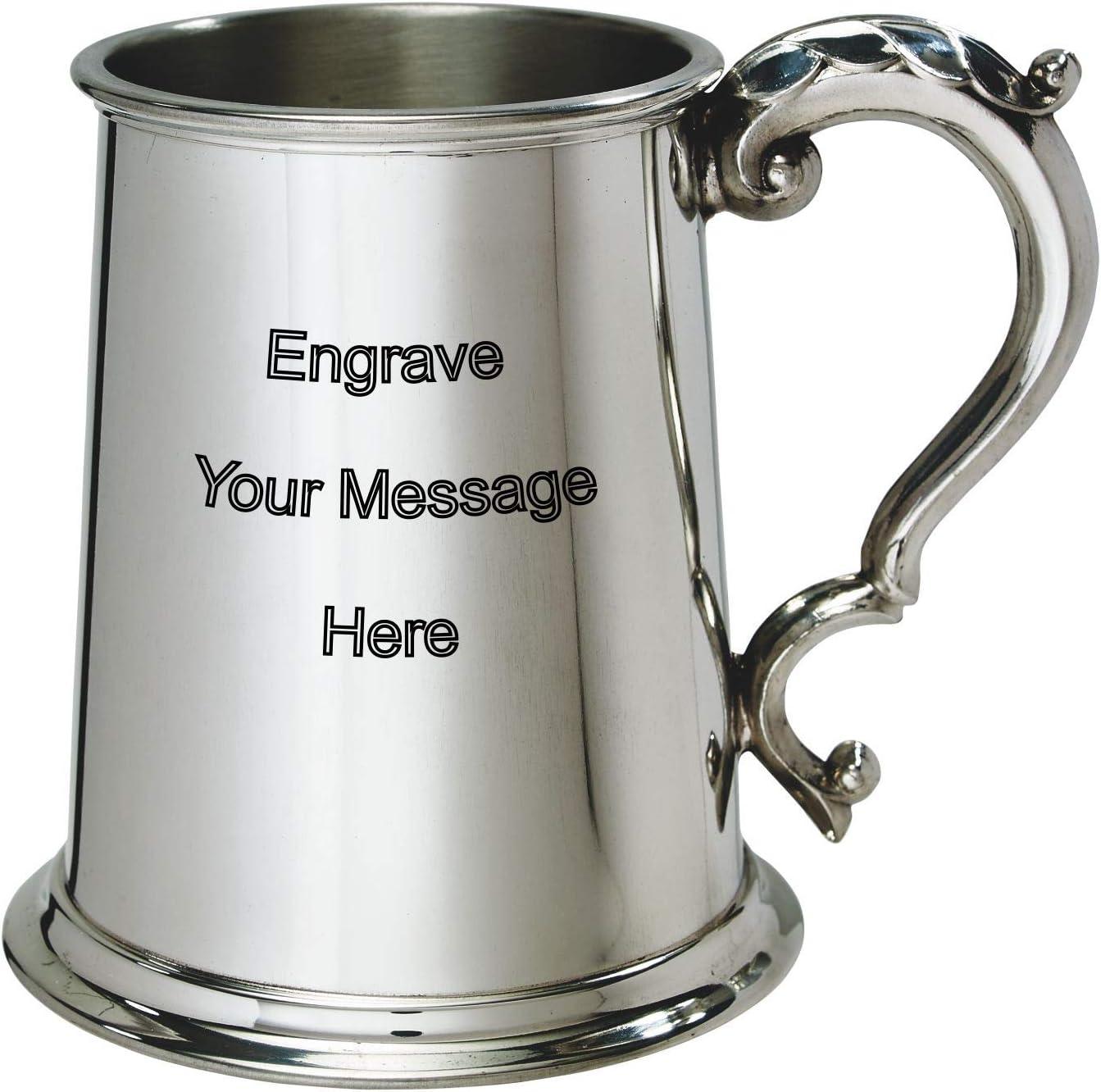 Wentworth - Jarra de peltre de 1 pinta personalizable con grabado gratuito – en caja de boda, cumpleaños, jubilación, trofeo deportivo, regalo para papá