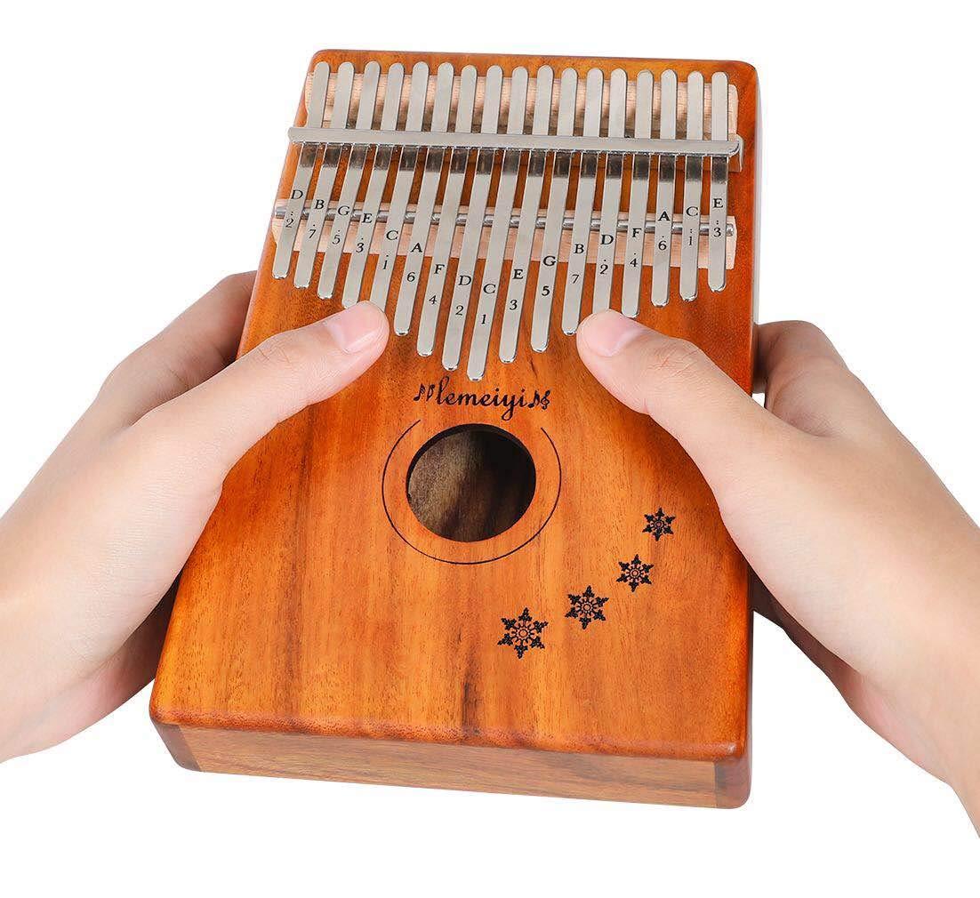 LEMEIYI Kalimba 17 Key with Mahogany,Portable Thumb Piano Mbira Sanza of Wooden Attached Ore Metal Tines with Kalimba Case by Lemeiyi (Image #2)