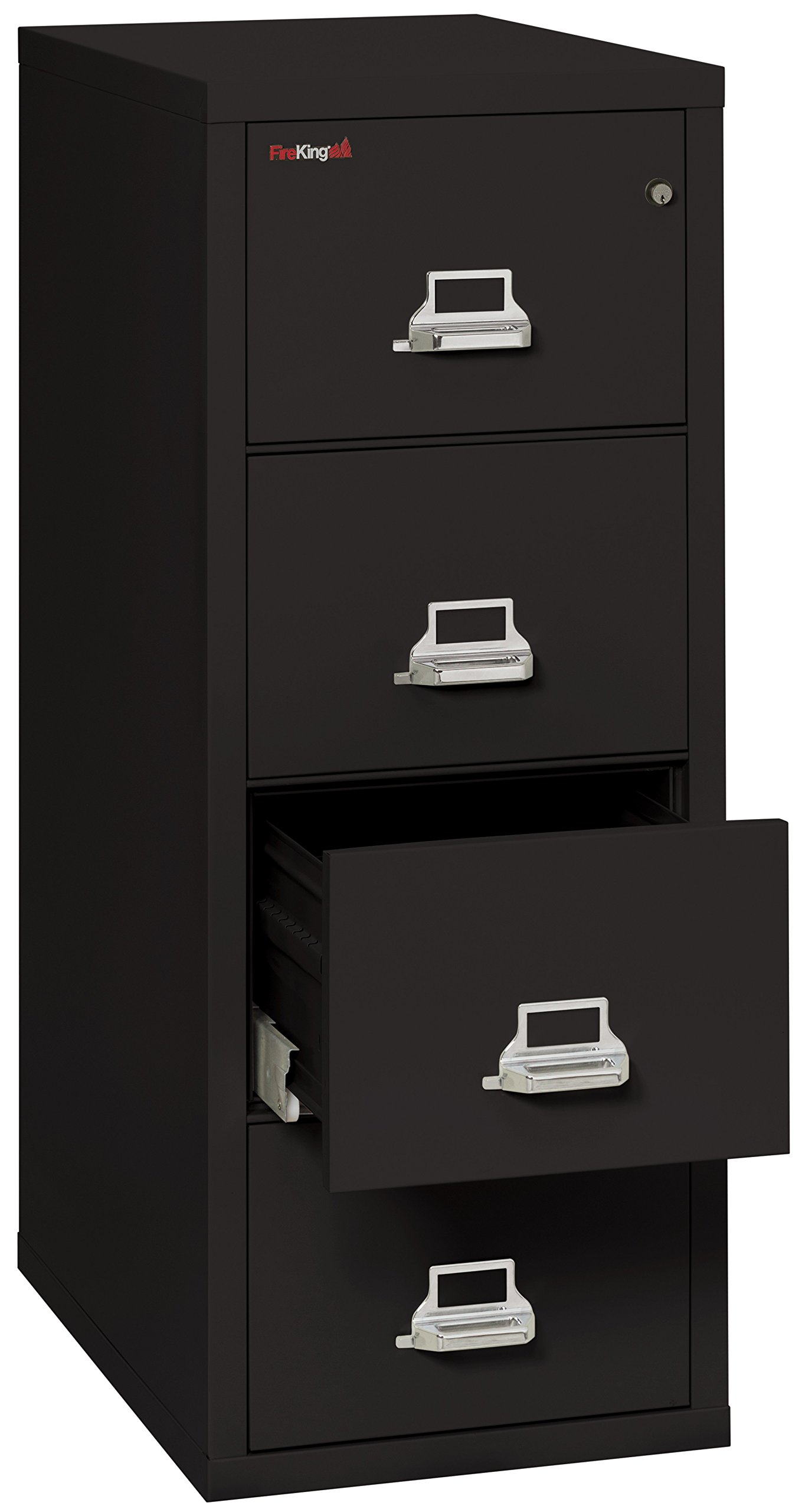 Black 1 hour Fire Impact rated Vertical cabinet 4 Drawer Legal 31 1/2 depth Made in USA by Fire King Security Group (Image #2)