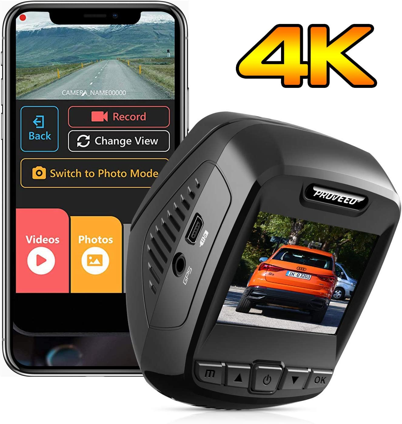 Pruveeo T7 4K Dash Cam Built in WiFi GPS, UHD 2160P Dash Camera for Cars, 2.4 inch LCD, 170 Degree, Wide Angle, Supercapacitor, WDR