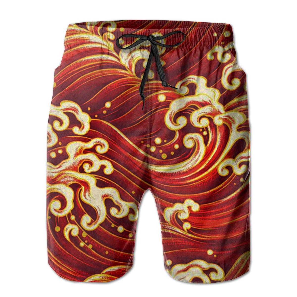 Mens Swim Trunks Red Wave Pattern Quick Dry Beach Board Shorts with Mesh Lining
