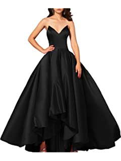 Lily Wedding Womens Satin High Low Prom Dresses 2018 Long V Neck Formal Evening Ball Gowns