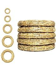 DekoPrinz Coronas de Paja, 5 Piezas |Diferentes tamaños Corona de decoraciónde, decoraciónde Navidad, Corona de Paja para la personalización