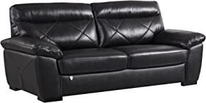 """American Eagle Furniture Modern Contemporary Italian Leather Upholstered Living Room Sofa, 82"""", Black"""