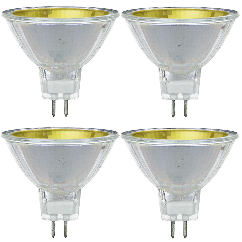 Pack Of 4 MR16 50 NSP 12V Y 50 Watt Halogen MR16 GU5.3 Based Mini Reflector Yellow Colored Light Bulb